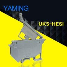 10PCS UK5-HESI UK5RD 4mm2 DIN Rail Screw Clamp Terminal Blocks Connector UK series and R055 Ceramics Fuse accessory