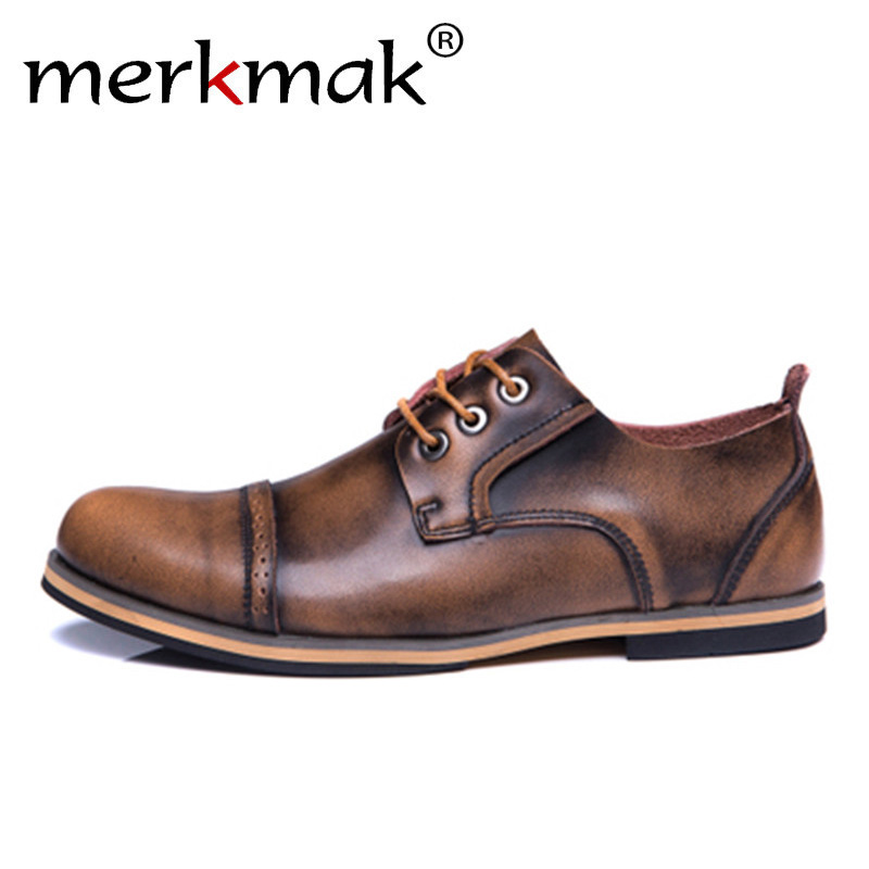 Merkmak Men Genuine Leather Shoes  Formal Business Men Oxfords Dress Shoes Vintage Retro British Brogue Shoes Mens Casual Shoes