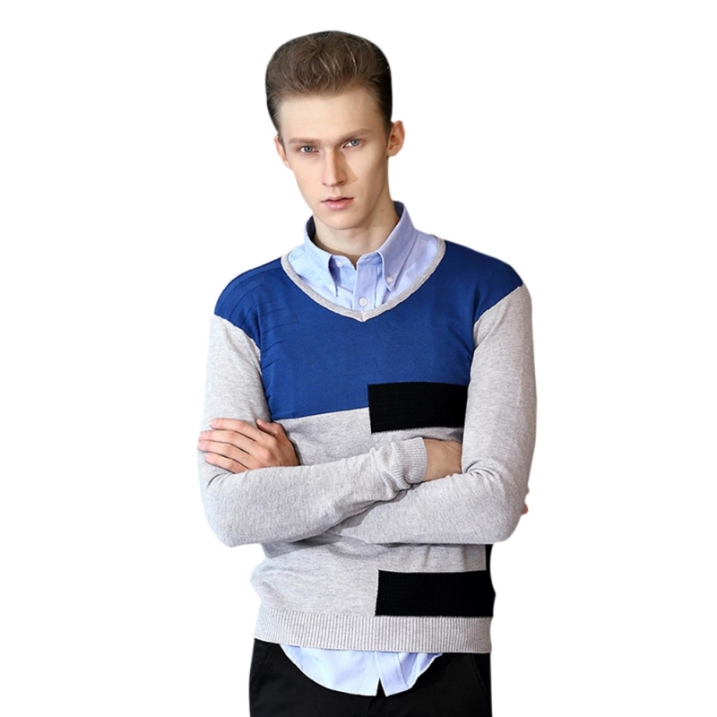 New Sweater Men 2017 Winter Top Patchwork Cotton Soft Men Sweaters and Pullovers V-neck Casual Brand Clothing M-XXL H8