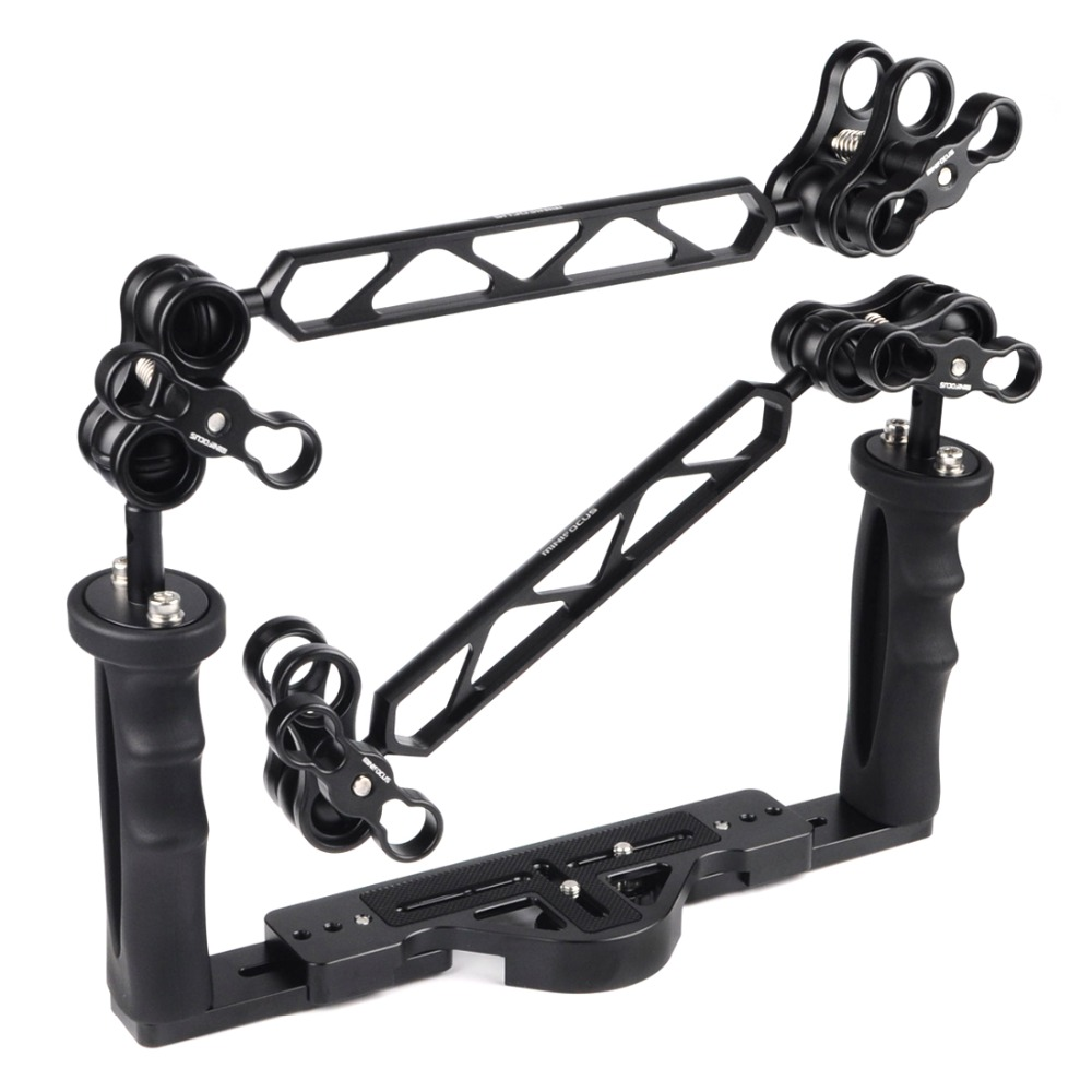 Underwater Diving Dual Handheld Stabilizer Tray Handle Grip Set with 1inch Double Ball Arm and Clamp