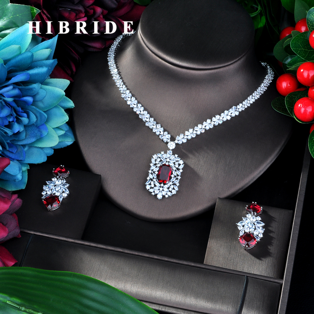 HIBRIDE Fashion Red AAA CZ Jewelry Sets for Women Necklace Set Bijoux Femme Accessories Geometric Design
