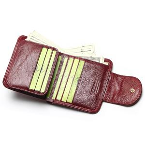 Image 2 - TAUREN Women Wine Red Wallets 100% Genuine Leather Purses Oil Cow Leather Hasp Short Retro Designer Small For Ladies Female