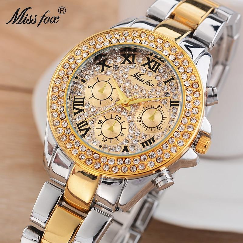 Miss Fox Causal Ladies Watch Fashion Brand Roman Numerals Diamond Cheap Wrist Watches Women Waterproof Shockproof