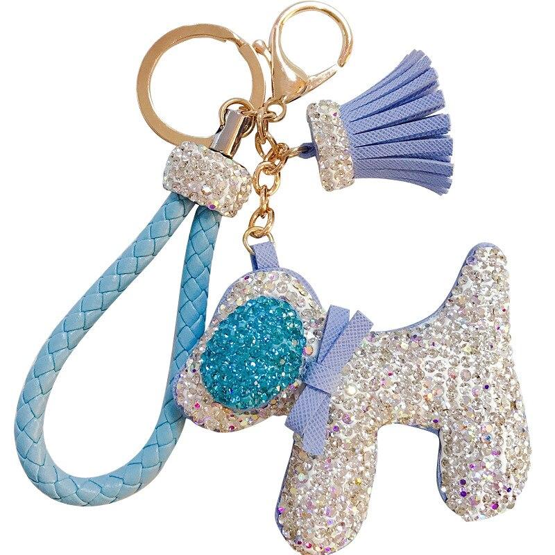 All Rhinestone Animal Dogs Leather Key Chain Luxury Crystal Tassel Bow Tie Dog Doll Key Ring Holder Bag Car Pendant Key Chains