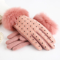 Winter Handgelenk Damen Kaschmir Handschuhe Für Touchscreen Weibliche Kanin Wolle Handschuhe Handschuhe Süße Elegante Alle Spiel Frauen Handschuhe