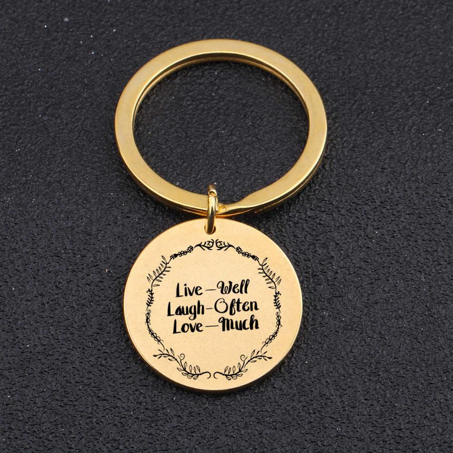 """""""Live Laugh มักจะรักมาก"""" Uplifting พวงกุญแจผู้ชายผู้หญิง Friend พวงกุญแจของขวัญ Inspirationa สร้างแรงบันดาลใจ Key fob"""