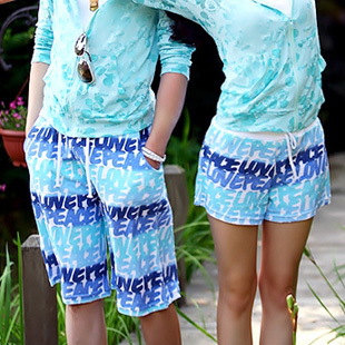 2015 hot new fashion high quality cotton twill shorts lovers beach lovers sky blue flowers letter