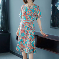 2019 New Summer Vintage Women Long dress Chiffon Print Slim Over the knee Waist Popular Fairy Dresses Picture 1922