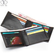 YINTE Men's Wallet Genuine Leather Business Casual Credit Card ID Holder Money Clip Black Wallet Two Layer Clip Portfolio T0838C