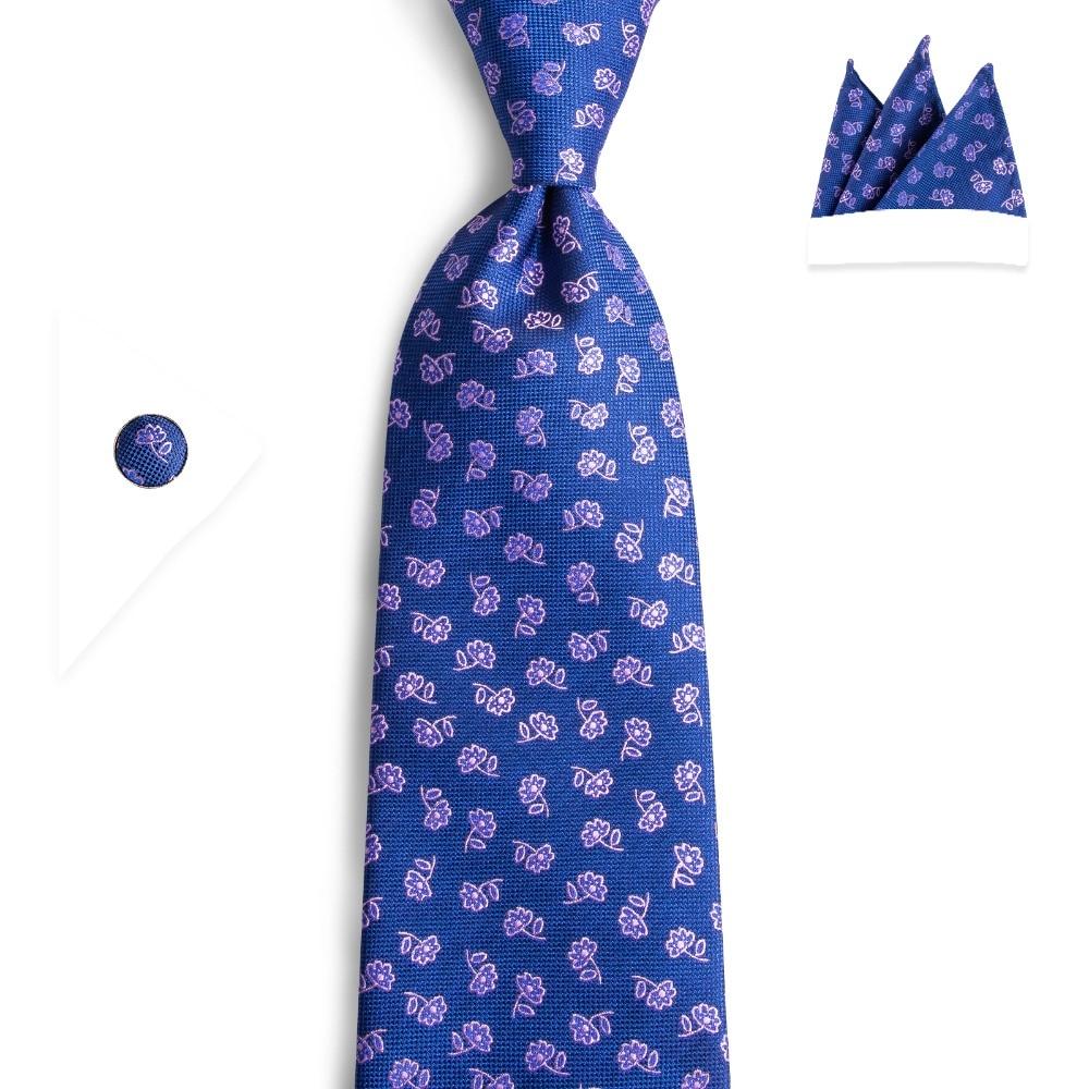 2019 DiBanGu New Luxury Men's Blue Pink Floral Neckties 8cm Wide 100% Silk Tie Business Wedding Party Tie Set For Men SJT-7162
