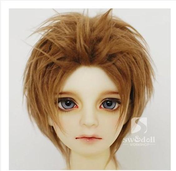 Dark brown BJD Doll Fur Wig for BJD 1/3 1/4 1/6 1/8 1/12 Full Size HH26 1 3 1 4 1 6 1 8 1 12 bjd wigs fashion light gray fur wig bjd sd short wig for diy dollfie