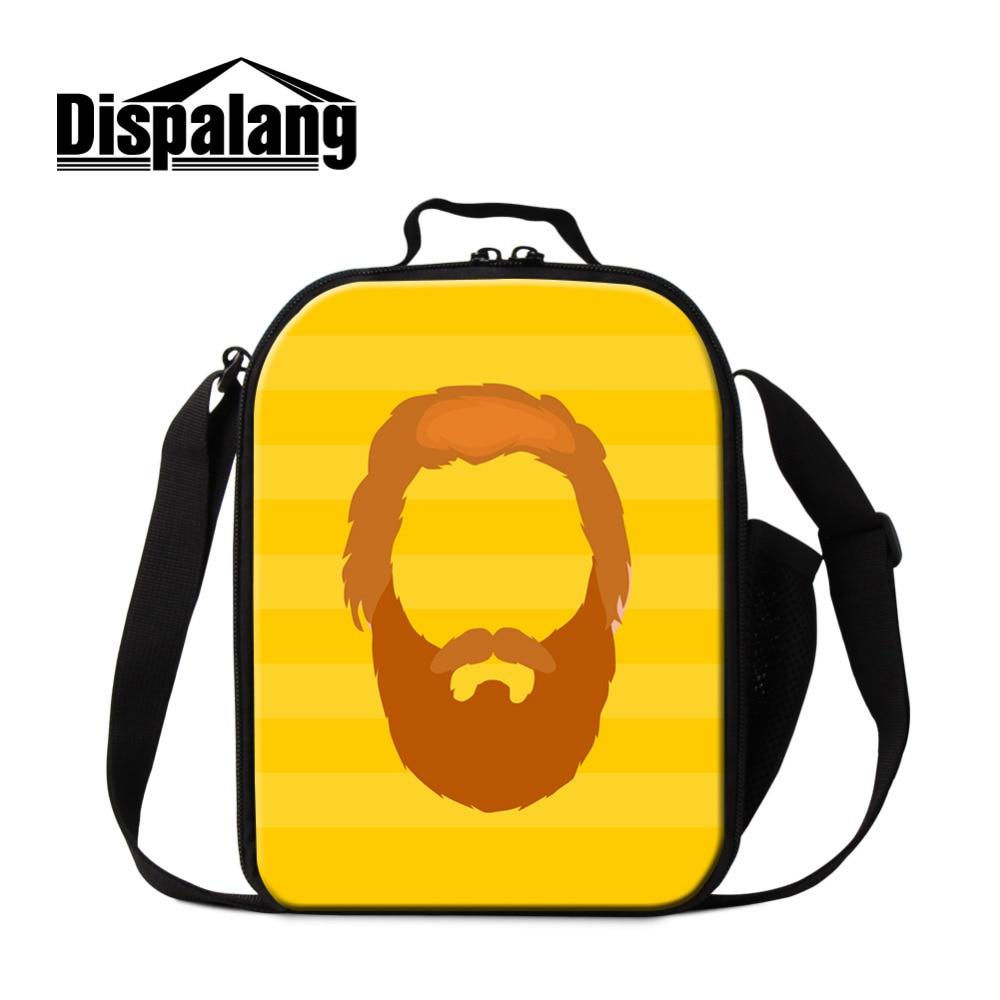 Dispalang Cartoon Thermal Lunch Bag Mens Moustache Print Insulated Lunch Food Bag for Kids Boys Girls Picnic Cooler Bag Bolsa