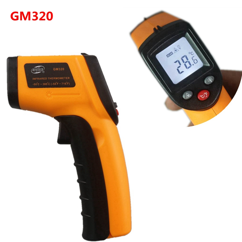 GM320 Non-Contact Digital IR Infrared Thermometer Laser LCD Temperature Meter -50~330C Degree Pyrometer Gun Point 2017 bside btm21c infrared thermometer color digital non contact ir laser thermometer k type 30 500 led