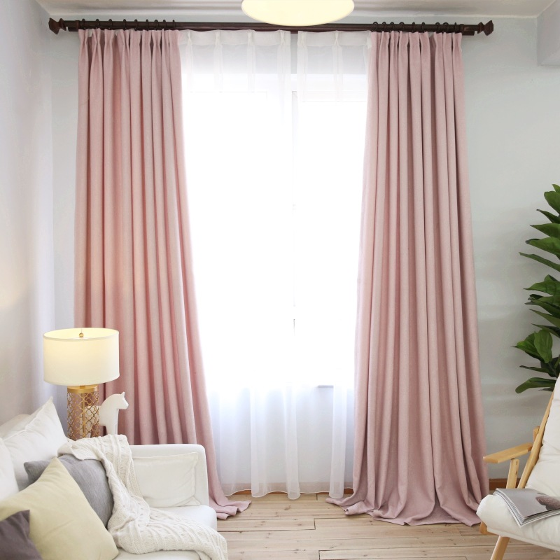 simple style pink linen cloth room decor curtains window drapes for window curtain living room purple sheer curtains wp199b - Sheer Drapes
