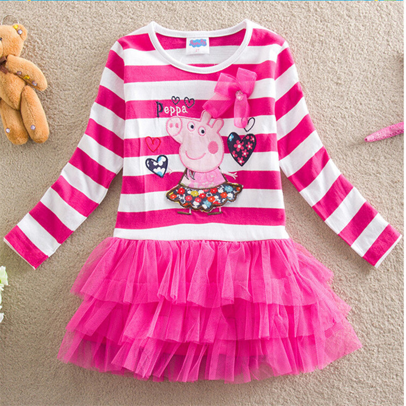 kids girl dress cotton cartoon full sleeve layered peppa children clothes weekend causal stripe fashion comfortalbe dress 2-6yrs pearl detail layered frill sleeve top