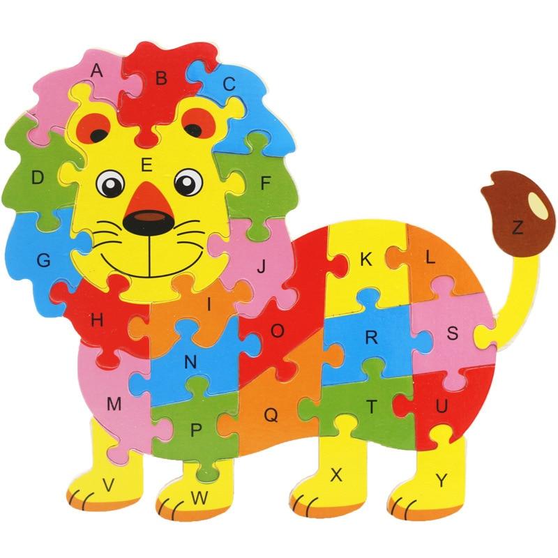 Дети деревянные животных 26 письмо головоломки, детские развивающие игрушки, мультфильм животных Лев/слон и т. д. Пазл