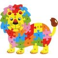 Envío gratis Kids animal De Madera 26 carta rompecabezas, juguetes educativos para niños, animal de la historieta del león/elefante etc rompecabezas