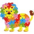 Frete grátis para Crianças quebra-cabeças De animais de Madeira 26 carta, brinquedos educativos para crianças, animal dos desenhos animados leão/elefante etc jigsaw puzzle