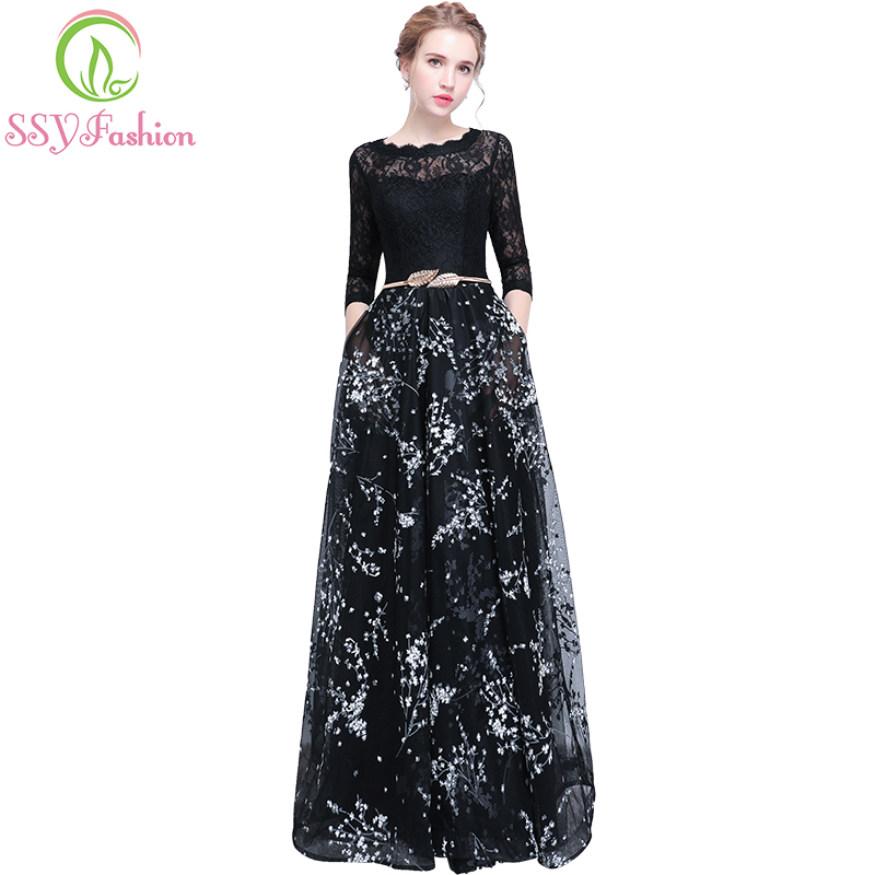 SSYFashion New Banquet Prom Dress The Bride Simple Black Lace Stitching 3/4 Sleeved Long Evening Party Gown Robe De Soiree
