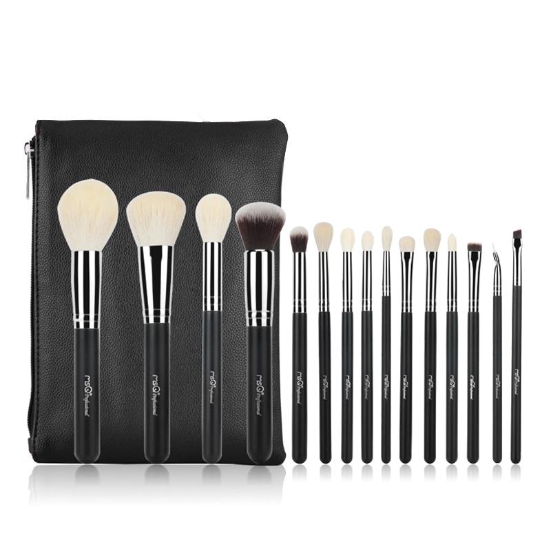 MSQ 15pcs/set Professional Makeup Brushes Set Make Up Brushes Kit fiber Goat Hair With PU Leather Case Makeup Beauty tool msq makeup brushes set pro 7pcs high quality goat