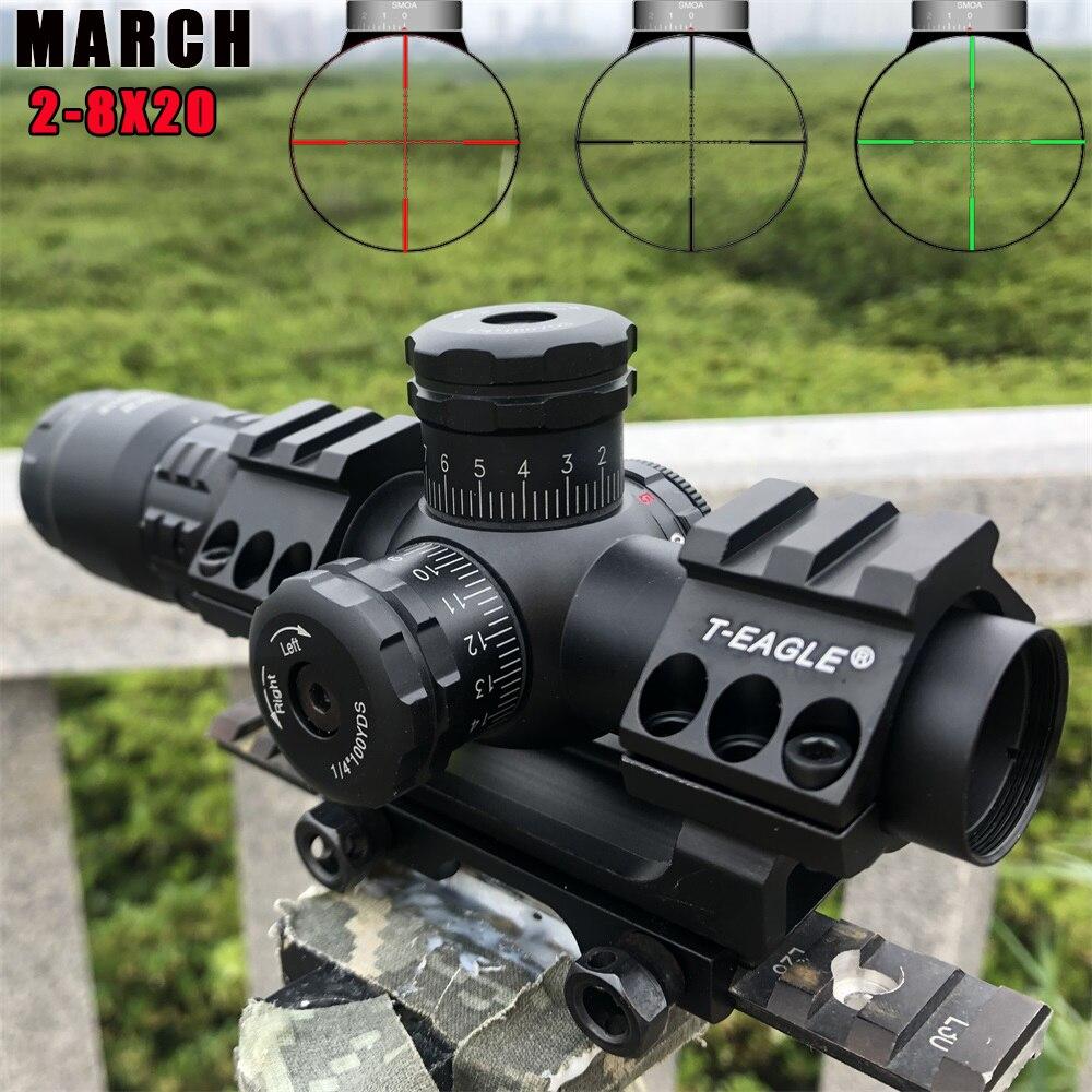 Gorący nowy marzec 2-8x20 IR Tactical RiflesScope 20mm mocowanie optyka lunety celownicze sight HD R/G lunety myśliwskie noktowizor