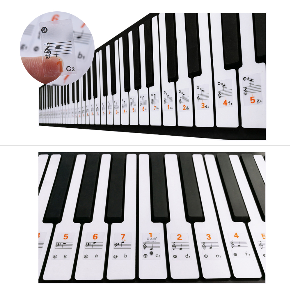 transparent 37 49 61 88 keys electronic keyboard sticker piano stave note sticker notation. Black Bedroom Furniture Sets. Home Design Ideas