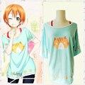 Любовь онлайн Hoshizora рин кошка печать летний стиль майка футболка косплей костюм мяу ~ хэллоуин костюм для женщин
