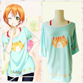 Love Live Hoshizora Rin Cat Printing summer style T shirt tshirt Cosplay Costume meow~ Halloween costume for women