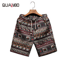 QUANBO 2019 Summer Hot Men Beach Shorts Thin Section Breathable Men's Linen Short Quick Dry Printing Board Shorts Big Size 5XL(China)