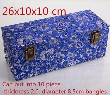 10 slot Luxury Handmade China Wooden Box for Bangle Storage Box Silk Fabric Decorative Jewelry Packaging Box  26x10x10cm