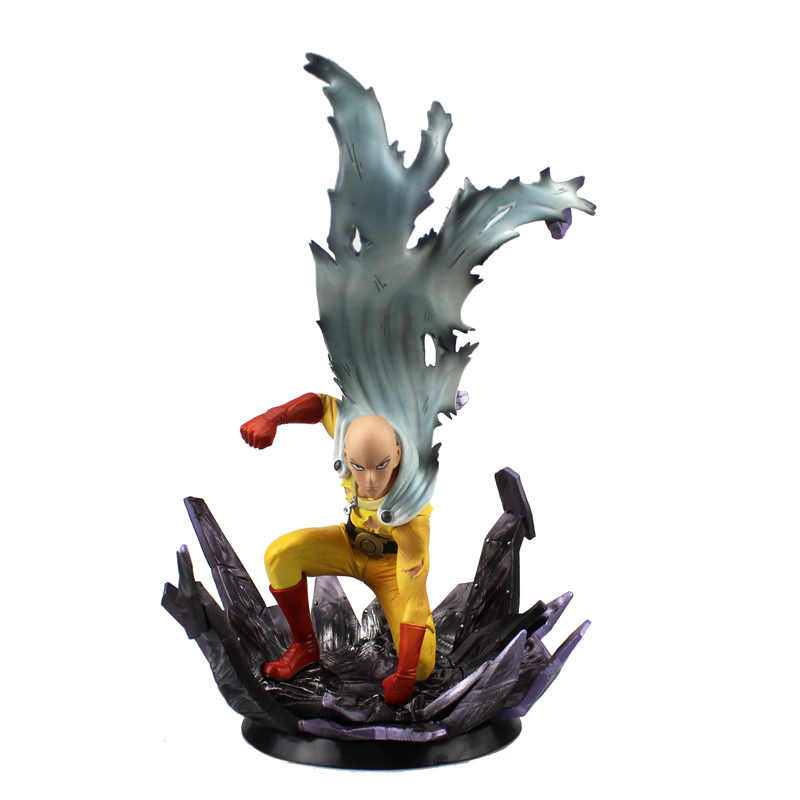 Free Shipping 10 Anime One Punch Man Saitama Broken Ground Ver. Boxed 24cm PVC Action Figure Collection Model Doll Toys Gift free shipping sexy 8 anime decadence beauty marie mamiya sit ver boxed 19cm pvc action figure collection model doll toy gift