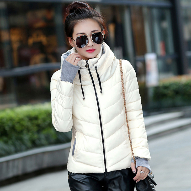 b6223765d5f 2018 Winter Jacket women Plus Size Womens Parkas Thicken Outerwear solid  hooded Coats Short Female Slim Cotton padded basic tops free shipping  worldwide