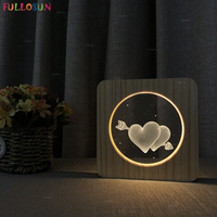 Nordic Style 3D Acrylic Night Light I Love You Heart LED 3D Table Lamp Warm Color Wood Lamp as Lover Christmas Gift