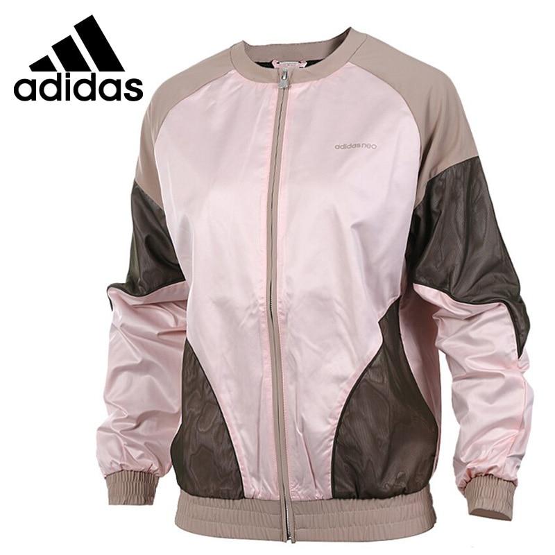 Original New Arrival Adidas NEO Label W STD BOMBER Women's jacket Sportswear striped trim fluffy panel bomber jacket