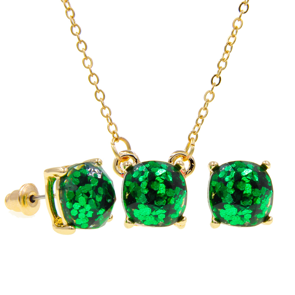Necklace Druzy Jewelry-Sets Stud-Earrings Pendant Iridescent Mini Super Cute with Matching