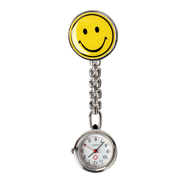 Smile Face Nurse Table Pocket Watch with Clip Brooch Chain Quartz Yellow LXH