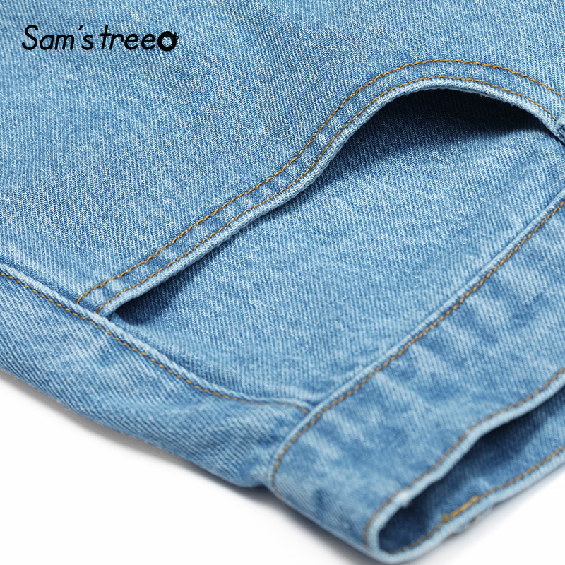 Samstree Summer Belt Denim Shorts Blue 2019 Summer Wide Leg Shorts with Pockets Young Women Loose High Waist Flare Shorts in Shorts from Women 39 s Clothing
