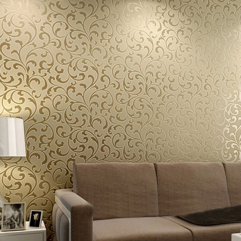 Yulan Modern Luxury Damask Acanthus Leaf 3D Flocking Embossed Non-Woven Wall Paper LivingRoom Sofa TV Background Papel De Parede beibehang papel de parede 3d non woven embossed flocking wallpaperdesign damask wall paper classic home decoration wall covering