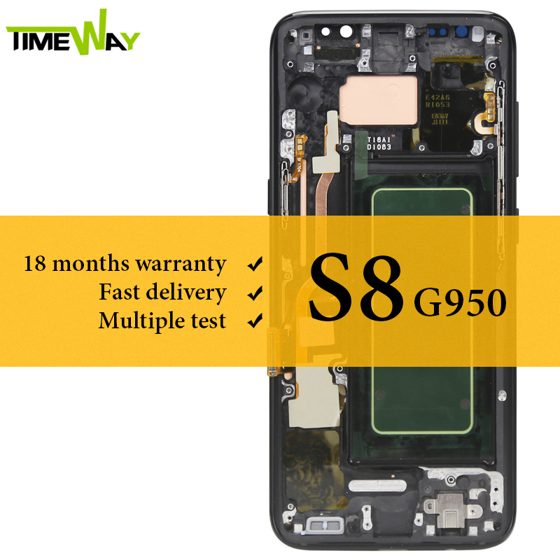 100 Tested For Samsung S8 LCD Dispaly Super AMOLED With Frame With Touch Screen Assembly For