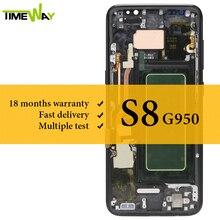 עבור Samsung S8 LCD Dispaly סופר AMOLED עם מסגרת עם מגע עצרת מסך G950 G950F LCD מסך 100% נבדק