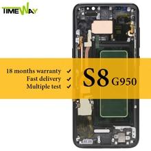 สำหรับSamsung S8 LCDจอแสดงผลSuper AMOLEDกรอบที่มีTouch Screen AssemblyสำหรับSamsung G950 G950Fหน้าจอLCD 100% ทดสอบ