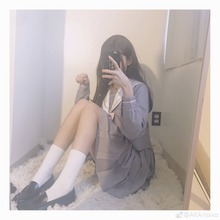 UPHYD Cute Sailor Uniforms Anime Kawaii Student School Long Sleeve Knit Sweater Set Skirt Preppy Style W85