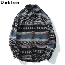 Dark Icon Geometric Woolen Shirt Men Long Sleeve 2019 Spring Tribe Men's Shirt Streetwear Clothing(China)