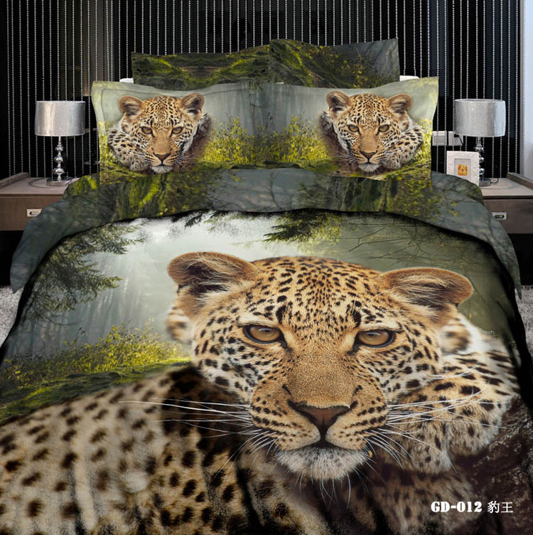 3d Leopard Animal Print 100 Cotton Bedding Sets Us Queen