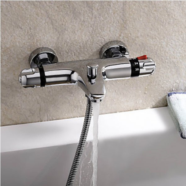 Thermostatic Chrome Finish Tub Faucet Automatic Temperature Control Water valve china sanitary ware chrome wall mount thermostatic water tap water saver thermostatic shower faucet