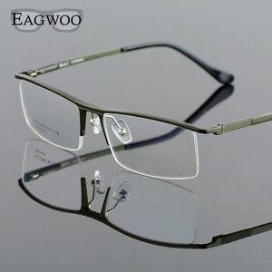Image 4 - Oprawki optyczne ze stopu aluminium pół obręczy receptę mężczyźni prostokątne zielone okulary biznes sportowe spektakl 823022