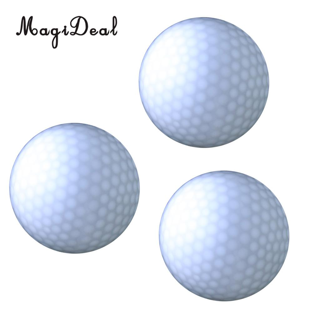 MagiDeal 3 Pieces Glow In Dark White LED Light Up Golf Ball Official Size Weight - Suitable for Night Golf Sports