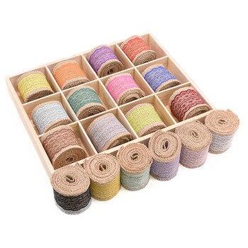 2M/rollo Multicolor 6cm cinta de arpillera cuerda Natural de yute para envoltura de estilo rústico boda fiesta regalo embalaje material