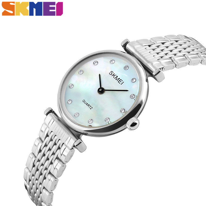 SKMEI New Women Quartz Watches Luxury Stainless Steel Strap Fashion Ladies Watch Shell Dial Wristwatch Relogio Feminino 1223