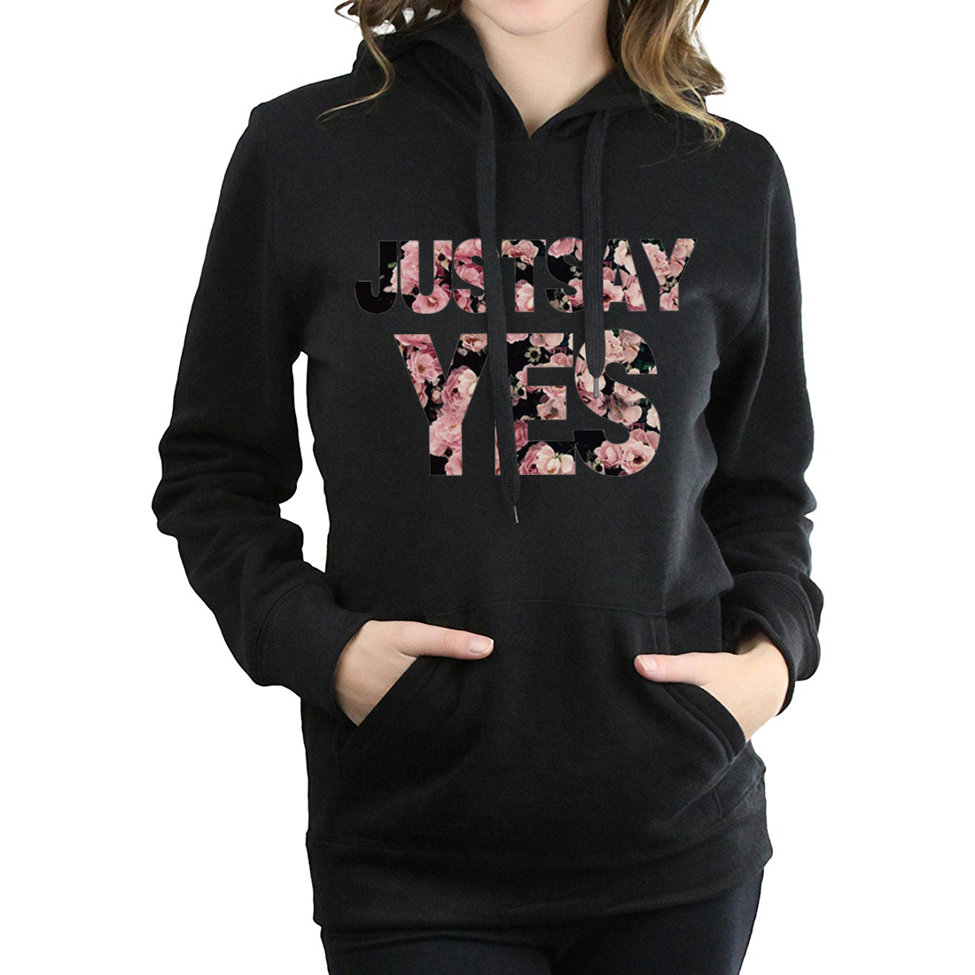 new women fleece tracksuits harajuku long sleeve hip-hop sweatshirts just say yes letters print hoodies for lady 2019 pullovers